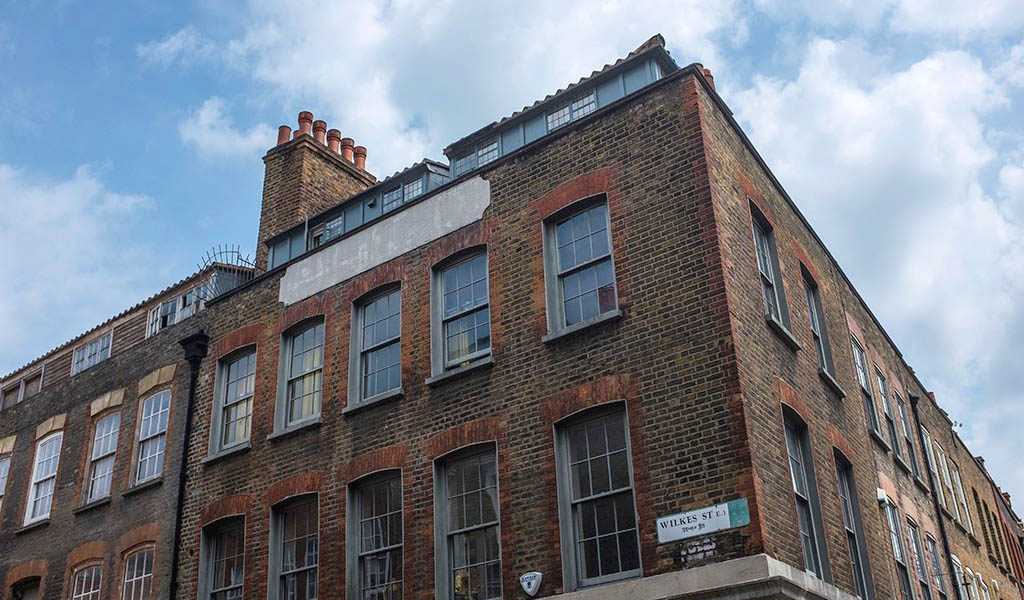Former silk weavers' workshops under the roof on Wilkes Street, Spitalfields