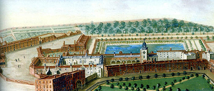 Painting of Charterhouse alms-house (on the left) and boys' school (around the large quadrangle to the right) in 1756, by an unknown artist.  Preacher's Court is the curved open space to the left (east). The area of trees to the north would be Pardon Churchyard, referred to in the Letters Patent when the alms-house and school were founded. Charterhouse Square is seen in the foreground and was the burial site for tens of thousands of victims of the Black Death in the 14<sup>th</sup> century.