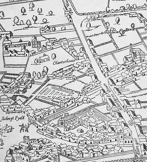"Charterhouse and St Bartholomew-the-Great, from the 1561 Agas map, reproduced with kind permission of the London Metropolitan Museum. The drawing seems to show the priory before Edward North's mansion was built. The square marked ""Charterhouse"" is now Charterhouse Square, a former burial ground for victims of the 1348 plague. The little chapel there was demolished and replaced by one inside the monastery. The map of St Bartholomew-the-Great shows a garden to the east, roughly where the mulberry garden is said to have been."