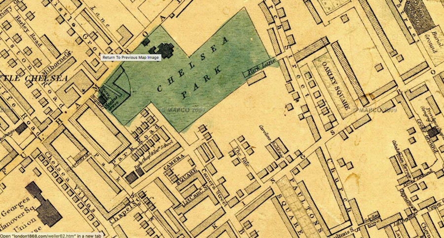 Chelsea Park in 1868 (Edward Weller map</em>)