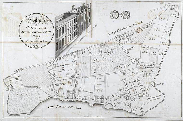 Chelsea in 1664 James Hamilton map, redrawn in 1717