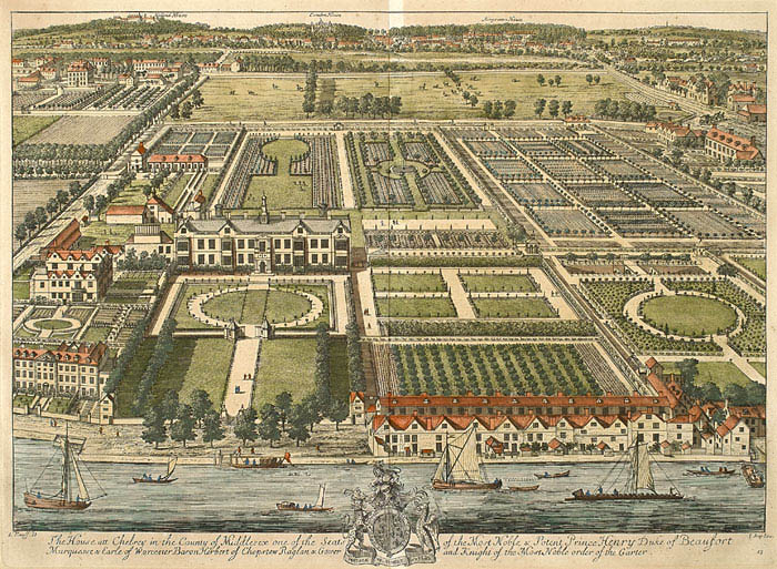Kip's view of Beaufort House, on the site of Thomas More's estate, in 1708. Chelsea Park can be seen north of the formal gardens
