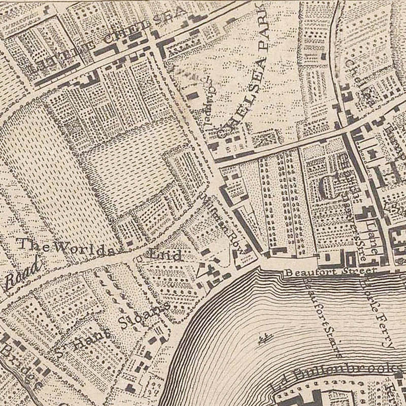 Chelsea in 1746, from John Rocque's map of London