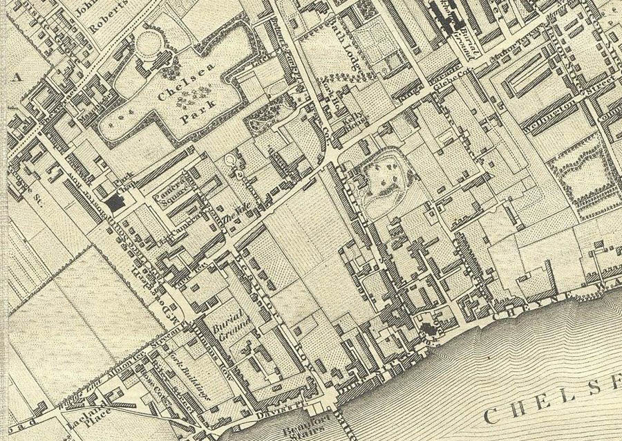 Chelsea Park on Greenwood's 1827 map