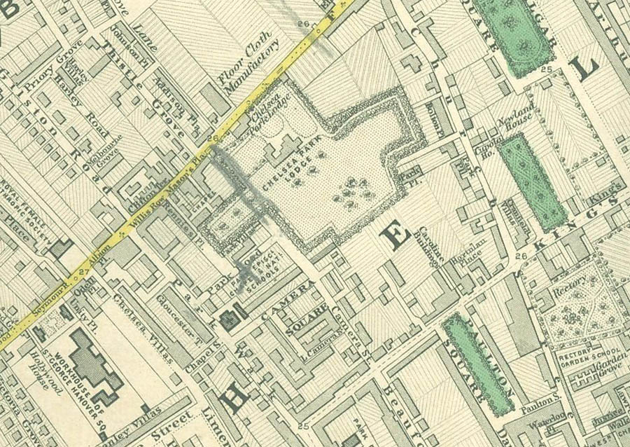 Chelsea in 1862, from Stanford's map