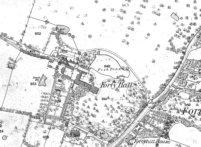 1867 OS map showing the 17th century walled kitchen garden to the south-west of the house and what could be the mulberry that was there until 1987, marked with an 'x' here. There is also a deciduous tree symbol under the 'H' of 'Hall' which is near to the site of the mulberry today, but later maps don't show it.