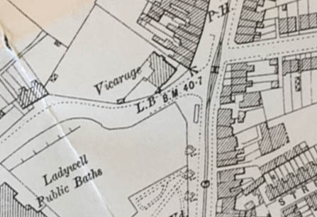 1894 Ordnance Survey map showing the Vicarage.