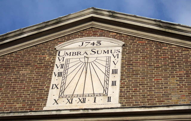 A sundial on what is now the mosque, recalls its origins as a Huguenot church, built in the 18th century