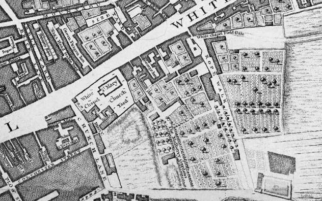 John Rocque's 1746 map, showing the site of the Whitechapel mulberry gardens