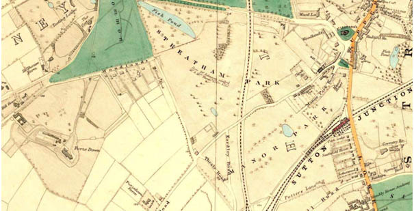 Ideal Homes map of Streatham Park in 1877 after the villa was demolished. Note the new railway line to the east and the fishpond.